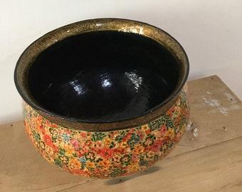 Kashmir handmade handpainted papier Mache fruit bowl