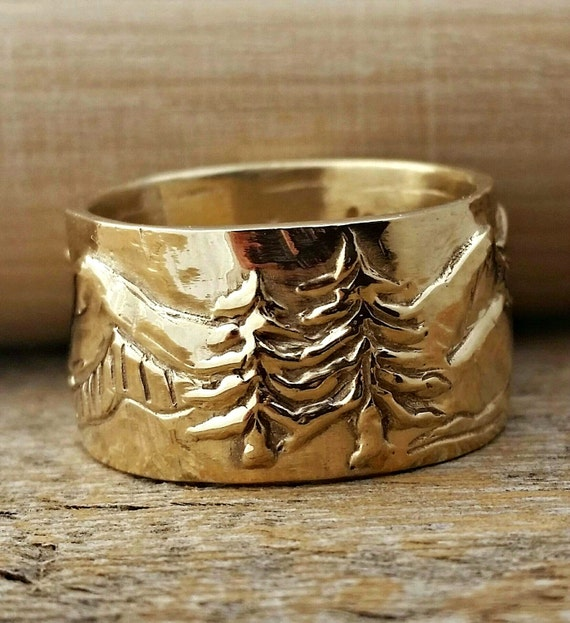 Gold Wedding Ring Band With Mountain River Tree Scenery. Man Or Womens Unisex Wide 14kt Yellow, White Or Rose Gold Wedding Ring Band.
