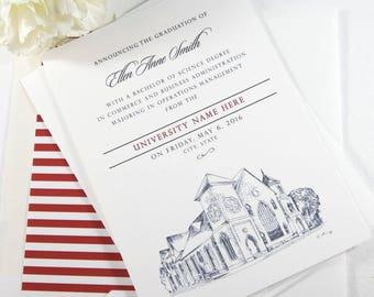 Indiana University Graduation Announcement, Indiana, University, College, Tech, Grad Invitations, Cards (set of 25)