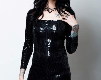 Black Sequin Vintage dress by Nite Line