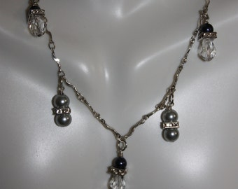 Silver and Blue Pearl and Crystal Sterling Silver Necklace