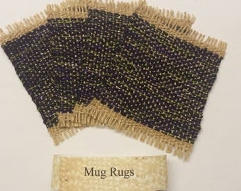 Mug Rugs, upcycled handwoven coasters, purple, black, green, gold and beige drink coaster gift set