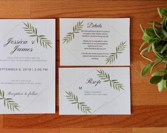 Greenery Wedding Invitation, Printable or Printed, RSVP, Detail Card, Minimal Wedding Invite