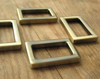 "1"" Rectangle D Rings Antique Brass Plated Purse Hardware - set of 4"