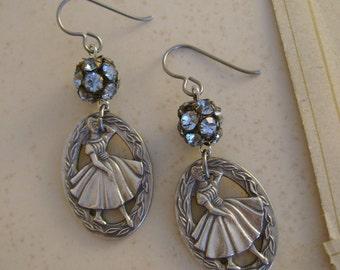 The Dressmaker-Vintage 1950s Singer Sewing Company Stylemaker Award Pins Blue Rhinestone Balls Niobium Recycled Repurposed Jewelry Earrings