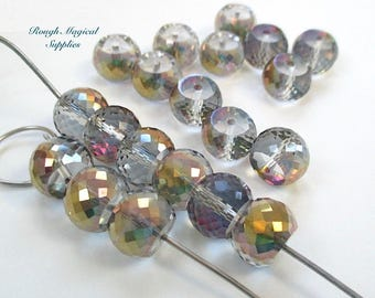 RESERVED for GINA Iridescent Rainbow Beads, 12mm x 9mm Rondelles, Fire Polished Glass, MultiColor Faceted Crystals 20 Pieces SP606