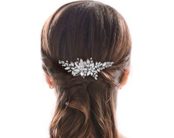 Wedding hair comb, something blue, silver hair comb, rhinestone hair comb, bridal hair comb, hair comb.