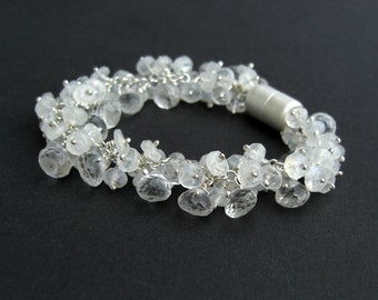 Moonstone Mountain Crystal Bracelet 925 silver, bridal jewelry, white gemstone bracelet, magnetic clasp