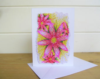Flower card ~ handmade greetings card ~ pink flower card ~ blank cards ~ uplifting card