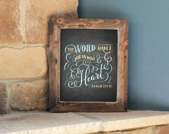 Psalm 119:11 - 8x10 Digital Printable Art - KJV Bible Verse - Chalk
