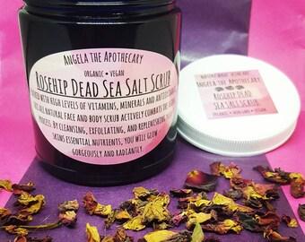 ROSEHIP BODY SCRUB, Sugar Scrub, Rose Facial Scrub, Rejuvenating Face Scrub, Body Polish, Vegan Scrub, Dead Sea Salt Scrub, Cruelty Free