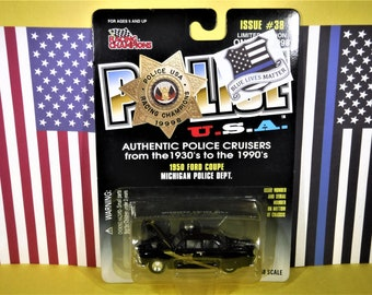 "1950 FORD SEDAN Diecast Police Cruiser...""Michigan State Police""... 1/58 Scale...New In Package...From Racing Champions"