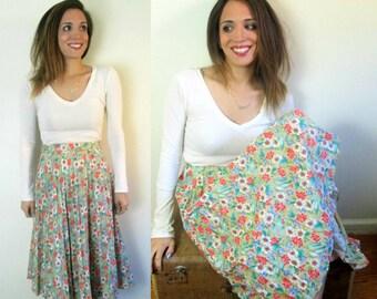 1970s Sears Cotton Permapleat Floral Skirt 26 Inch Waist Daisy Print