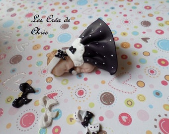 lace baby girl dress and collar effect fimo.