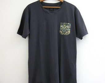 Charcoal Gray T-Shirt with Green Floral Contrast Pocket // Medium