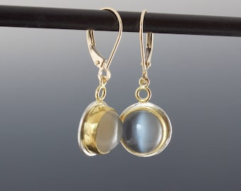 Cat Eye Moonstone Earrings - Grey Round Cabochons Bezel Set in Gold and Silver - One of A Kind Gemstone Drop Earrings