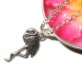 Flamingo Necklace, Kitsch Bird Pendant, Silver Flamingo Charm Necklace, Tropical Bird, Flamingo Pendant, Simple Necklace, Everyday Jewelry