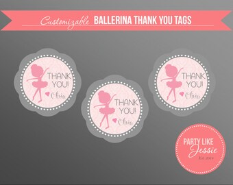 PRINTABLE Ballerina Thank You Tags (Customizable)
