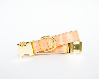 Peach and Gold Dog Collar, Metallic Gold