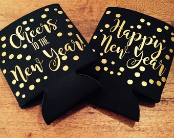 cheers to the new year can coolers / happy new year can coolers / New Year's Eve / New Years party / fast shipping