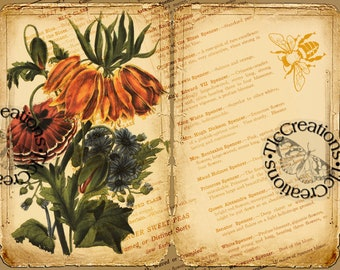 In My Flower Garden Long Ago, Vintage Printable Junk Journal Kit, Diary, Scrapbook