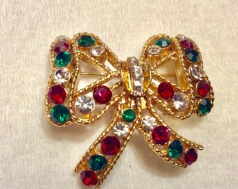 Eisenberg Ice designer signed Christmas ribbon bow brooch pin.