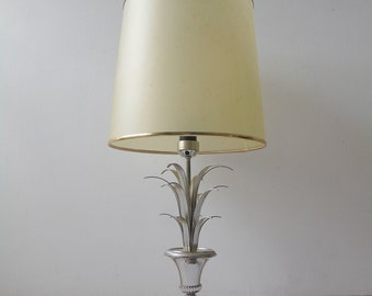 hollywood regency lamps palm table lamp chrome  palm leaves  vintage lighting maison Jansen era 1970s