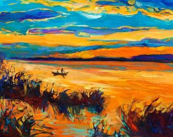 Landscape 20x18in, Landscape Painting Original Art Impressionistic OIl on Canvas by Ivailo Nikolov
