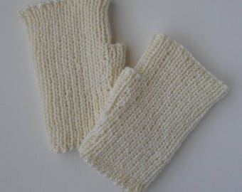 Cream Mitts Adult Size Fingerless Gloves Texting Mitts Wool Blend Hand Knit Ready to Ship