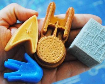 4 x Star Trek soap -Enterprise, Insignia and Vulcan salute, Borg cube -  Made from a Star Trek mould