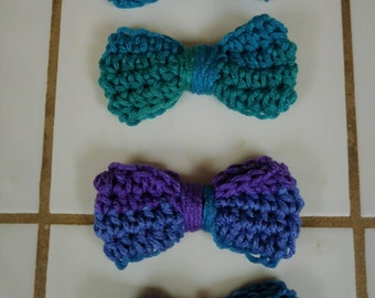 Bows, Crochet Bow, Applique, Craft Bows, Yarn Bows, Craft Supply, Hair Accessories,