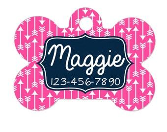 Custom Pet Tag - Pet ID Tag - Custom Dog Tag - Custom Pet ID Tag - Pink Geometric Navy Blue