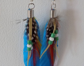 Earrings feathers and turquoise beads