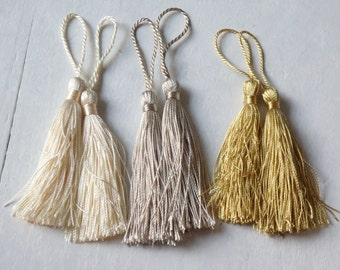 Gold Tones   6 Silky Tassels For Malas, Jewelry, Clothing, Home Decor,