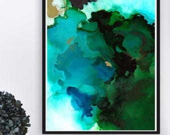 Ocean Water Wall Decor, Modern Seascape Art Print, Turquoise Ocean Wall Print, Abstract Ocean Wall Decor, Ocean Lover Gift, Inkblooms