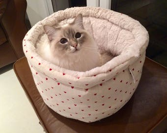 Round snuggle pet bed, cat bed, small dog bed hand made luxury, valentine bed