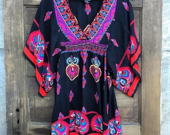 Vintage 90's Bohemian Batwing Dress by Angie Size Small