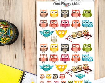 Cute Owl Planner Stickers   Owl Stickers   Cute Owls Stickers   Funny Owls Stickers   Bird Stickers   Colourful Owl Stickers (S-004)