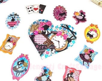 Glitter Flake Sticker Sacks. Alice in Wonderland Daily Diary Deco Stickers. For Filofax KIKKI.K Erin Condren Life Planner decorations.