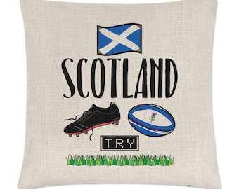 Rugby Scotland Linen Cushion Cover