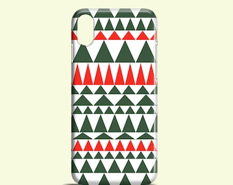 Christmas triangles iPhone X case / tribal iPhone 8 case / festive iPhone 7 case / green trees iPhone 6 case / iPhone 7 Plus case