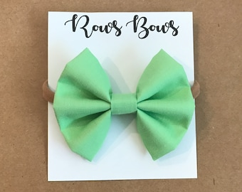 Solid mint green hair bow - Infant / Toddler - Nylon Headband / Clip