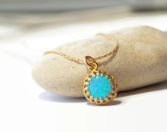 Light Blue Opal Gold Filled Necklacae - Opal Jewelry - Gold filled chain - OPAL Necklace - Crown Setting - October Birthday - Crown Bezel