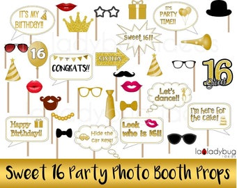 Sweet 16 party photo props. Printable. DIY Sweet sixteen photo booth props for pictures. Instant download. PDF Digital file. High resolution