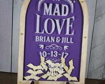 Personalized Guest Book-Mad Love-Engraved Acrylic-Royal Purple-Bats