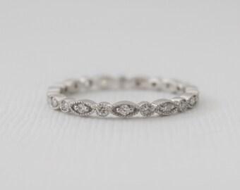 Full Eternity Milgrained Scalloped Diamond Ring in 14K White Gold