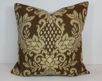 IKAT Decorative Pillow Cover, Brown, Gold Cushion Cover, 20 x 20