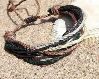 Multi Color Hemp Surfer Tribal Mens Womens Bracelet