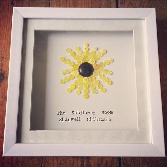 Button Sunflower Frame- can be petsonalised