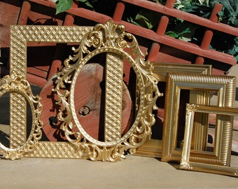 Set Of 6 Gold Shabby Chic Frames - PICTURE FRAMES - Ornate - Gallery Wall - Vintage Frame Collection